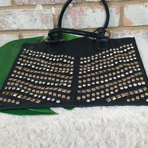 Bejeweled Black Leather Bag